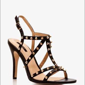 Forever 21 Gold Studded Black Heels